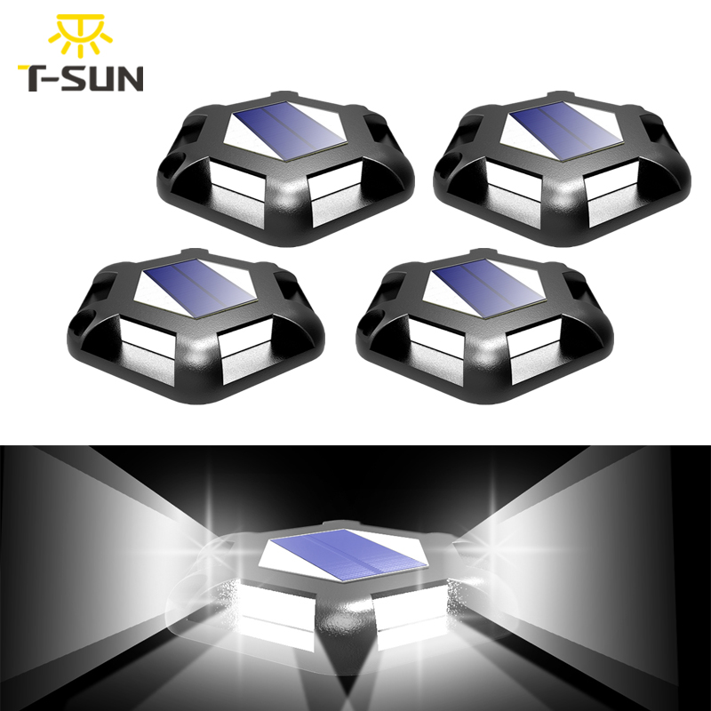 T-SUN 6LEDS 3000k 6000k Solar Light Outdoor Solar Lawn Lamps IP65 Waterproof Underground Lamp for Garden Path Floor Stairs