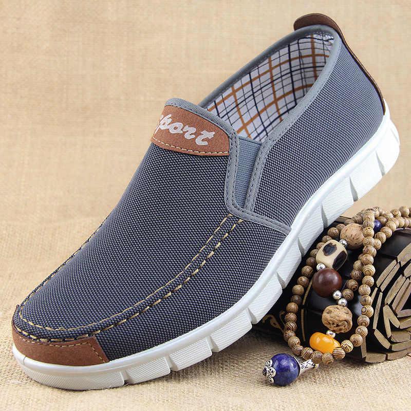Zapatos de lona de los hombres nueva primavera verano de lona cómodos casuales de los hombres zapatos de hombre plano mocasines zapatos hombres negro 2019