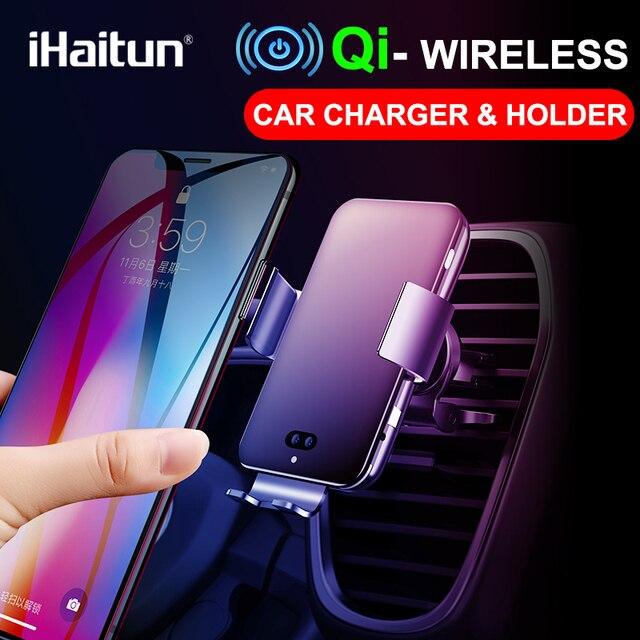 IHaitun seyahat otomatik hızlı kablosuz araç hızlı 10W şarj 4.0 telefon şarj standı istasyonu güç akıllı telefon şarj cihazı Huawei onur