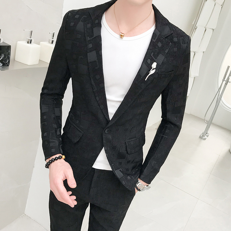 (Blazer+pants) Men's Jacquard Slim Business Banquet High-grade Suits Fashion Groom Wedding Luxury Formal Suit Two-piece