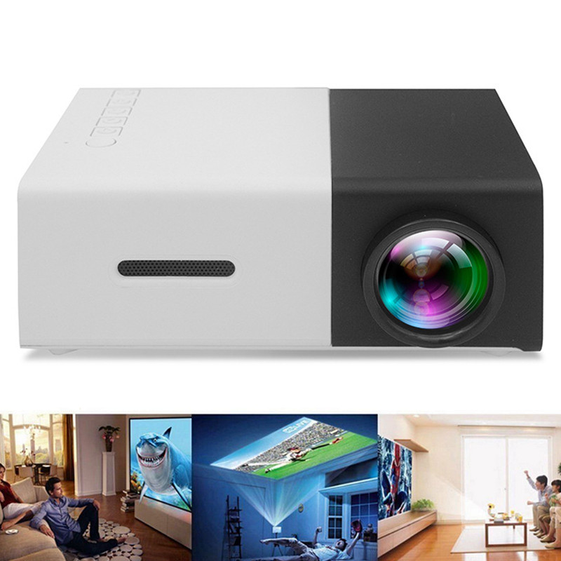 YG300 Mini <font><b>LED</b></font> Projector 400-600LM 3.5mm Audio 1080P Video 320x240 Pixels HDMI USB Projector Home Media Player Four plugs image
