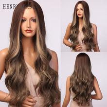 HENRY MARGU Long corps ondulé perruques Ombre brun doré mettre en évidence perruques synthétiques partie moyenne Cosplay cheveux pour les femmes résistant à la chaleur