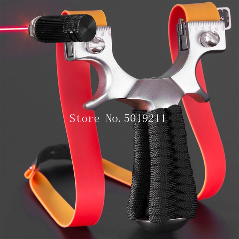 Stainless Steel Flat Leather Slingshot Outdoor Precision Laser Infrared Slingshot Hunting Competitive Slingshot