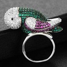 GODKI 2019 Trendy Papegaai Charms Cubic Zirkoon Statement Ring voor Vrouwen Vinger Ringen Kralen Charm Ring Bohemian Strand Sieraden