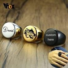 Vnox – bague pour hommes, Signet rond, épais, 20mm, personnalisé, brillant, en acier inoxydable, style Punk, cadeaux personnalisés