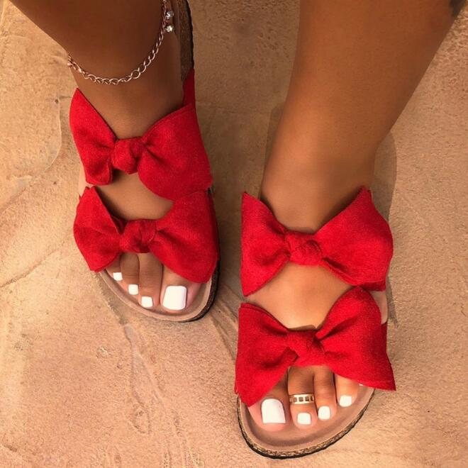 Free Send 2020 New Women's Beach Shoes Bow Cross Thick Sandals Outdoor Wild Travel Student Home Slippers Sandals Zapatos