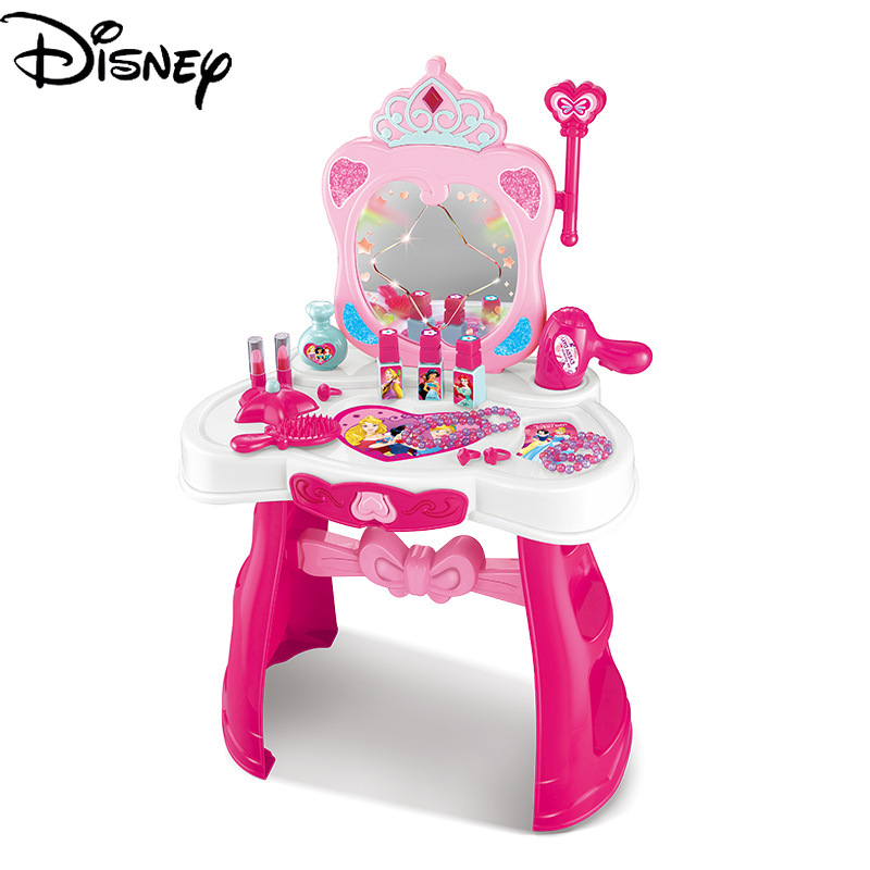 Original Disney Children's Dressing Table Toy 3-6 Years Old  Set Girl Cosmetic Make Up Box Girl Family Toy DS728