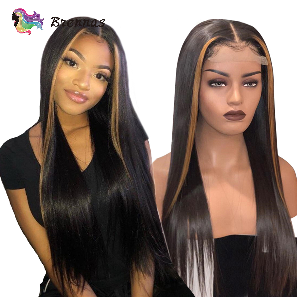 Ombre Straight Lace Front Wig 27 Honey Blonde Highlight Human