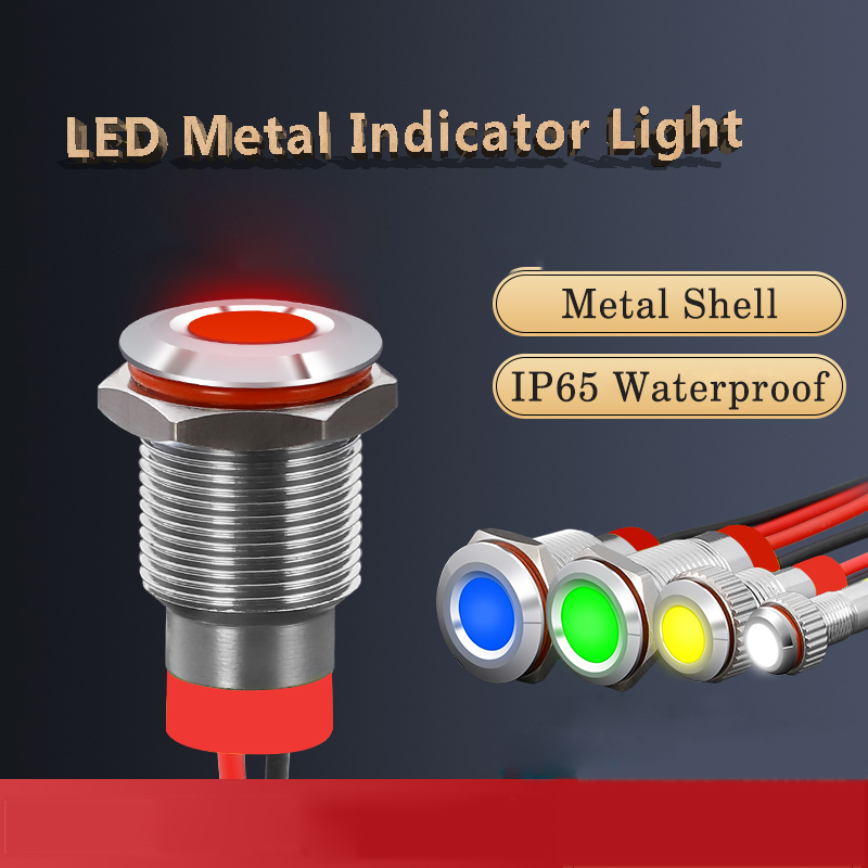 <font><b>12mm</b></font> <font><b>LED</b></font> Metal indicator light <font><b>led</b></font> Waterproof IP65 Signal Lamp 12V 24V 220V red green blue yellow white signal light image