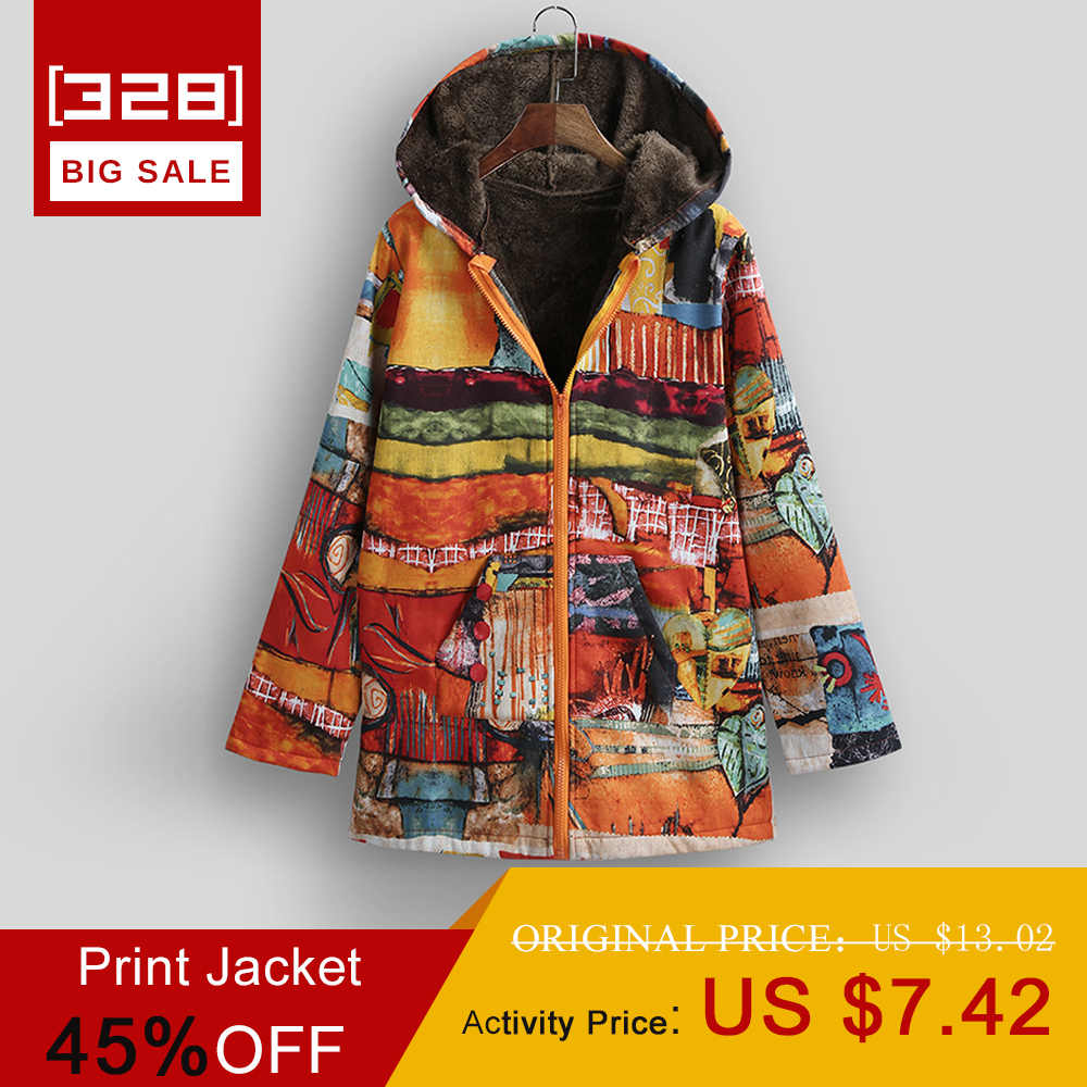 Versear Ethnic Women Jacket Colorful Graffiti Print Faux Fur Lining Hooded Coats Casual Long Sleeve Pockets Outerwear Plus Size