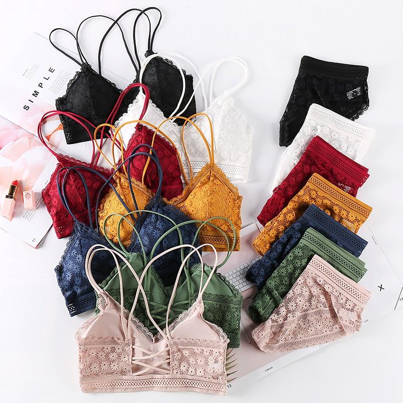 Women Lace Bra Sets Seamless Underwear Backless Vest Sexy Panties Padded Bralette Lingerie Ultrathin Briefs Female Intimates #F|Bra & Brief Sets|   - AliExpress