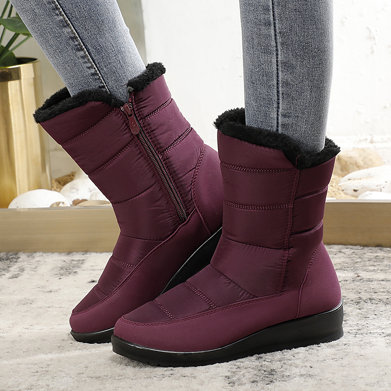 Women Boots Winter Snow Boots Waterproof Ladies Warm Plush Platform Shoes Bottes Femme Wedges Shoes Zipper Boots Buty Damskie