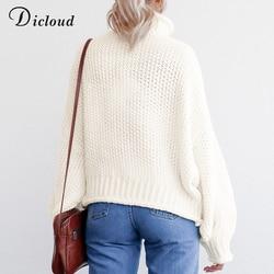 DICLOUD Turtleneck Oversized White Sweater Women Autumn 2019 Long Sleeve Pullover Knitted Jumper Winter Jersey Woman 6