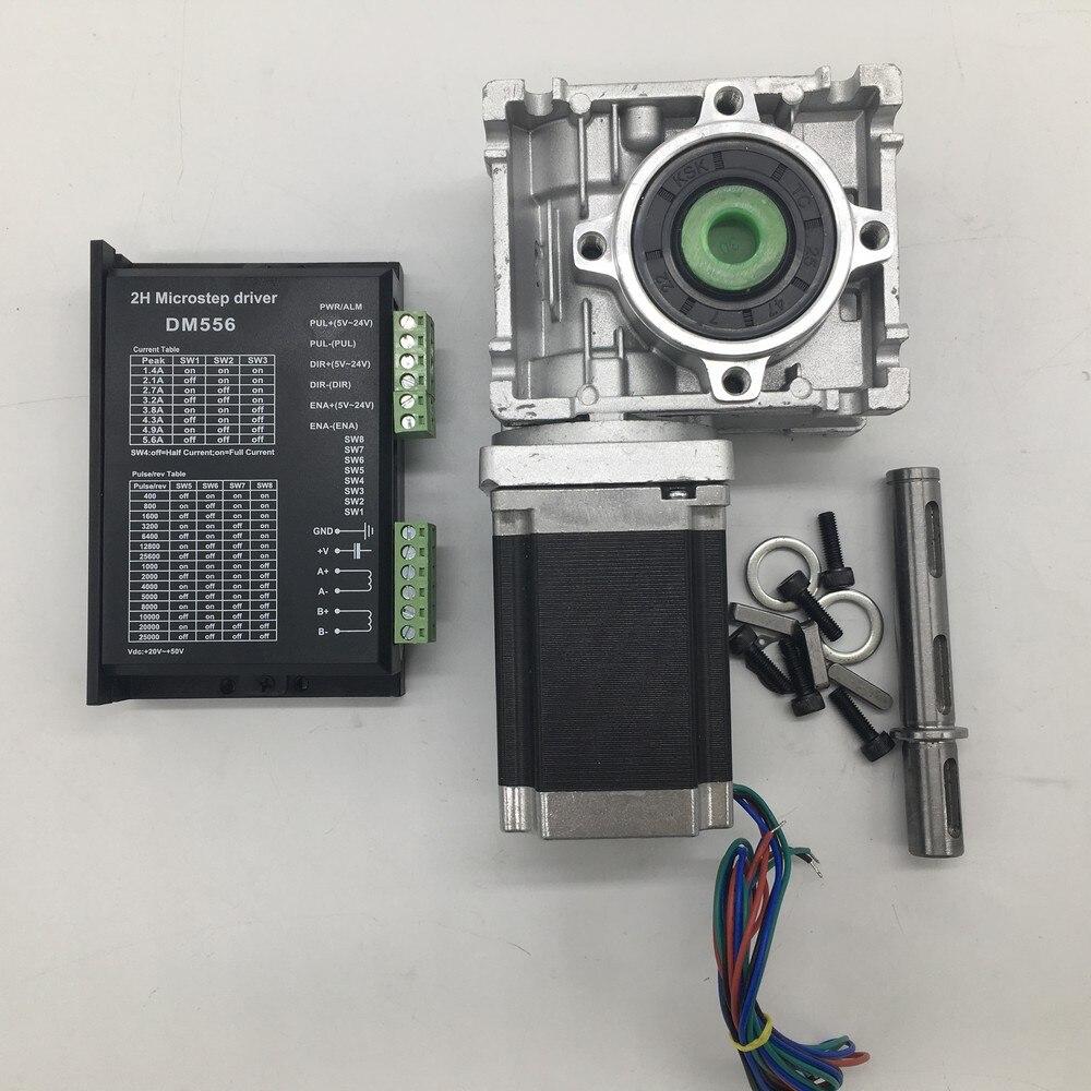 80: 1 wurm Getriebe RV030 Geschwindigkeit Minderer 14mm ausgang + Nema23 Schrittmotor fahrer 2.2NM 310Oz-in Konvertieren 90 grad Für CNC Router