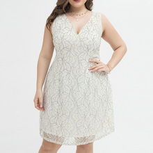 White Plus Size Women Lace Dress Sexy Sleeveless Midi Summer Dresses Elegant Loose Flowers Home Sundress V-Neck Beach Vestidos women 2019 summer polka dot vintage dress sexy deep v neck sleeveless party sundress elegant casual belt beach dress plus size