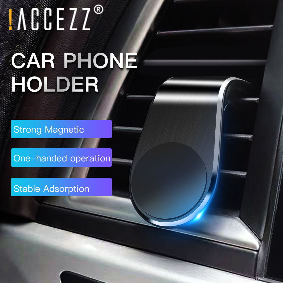 !ACCEZZ Magnetic Car Phone Holder Mobile Phone Car Air Outlet Stand For IPhone 11Pro Paste Sticker With Iron Sheets Mini Bracket