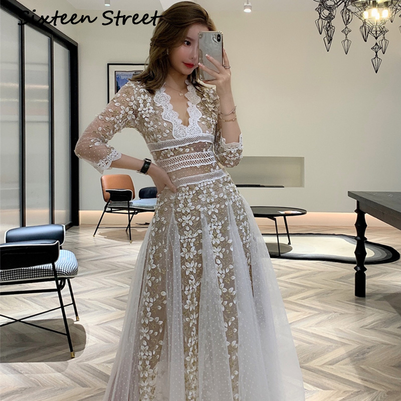 spring Woman Clothing embroidery mesh dress woman long sleeve V neck lace long white dresses party for lady vestidos 2020 New