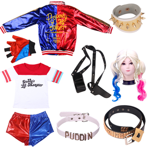 Halloween Holiday Adult Suicide Squad Harley Quinn Cosplay Costume For Women Arkham Asylum City Joker Movie Anime dress up(China)