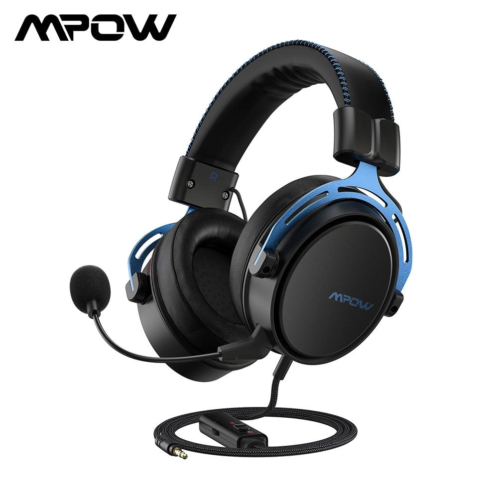Mpow Air II игровая гарнитура, проводные наушники с объемным звуком, с шумоподавлением, микрофон в линии управления для PC Gamer PS4