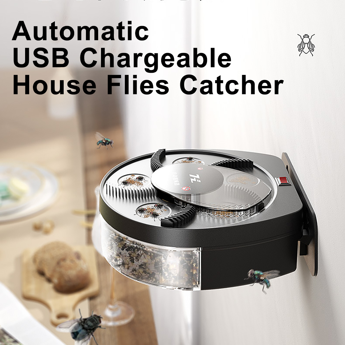 USB Rechargeable Portable Electric House Fly Trap Automatic Hanging Catch Fly Catcher Killing Flies Killer With Bait Station