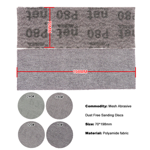Image 3 - 5 pezzi 198*70mm Mesh senza polvere anti blocco a secco dischi abrasivi a strappo carta abrasiva abrasiva 80 #120 #180 #240 # carta per decorare auto