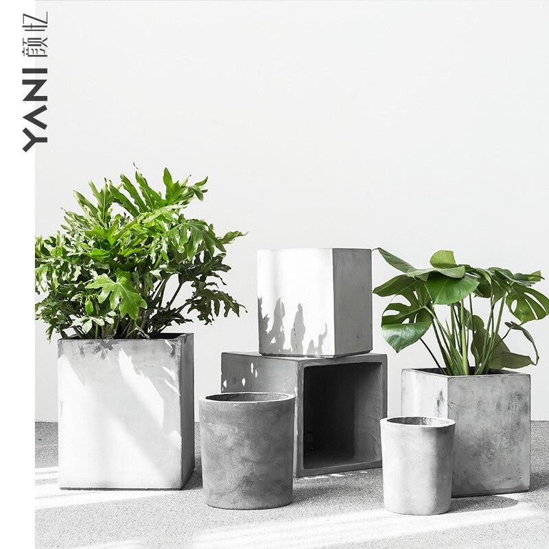 Северный Европейский стиль креативный цементный цветочный горшок большого размера квадратный современный минималистский пол бонсай двор