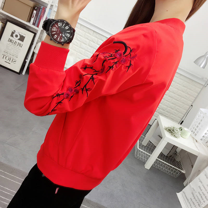summer Solid color embroidery thin   jacket   Women Causal sunscreen windbreaker   Basic     Jackets   oversized   jacket   tops