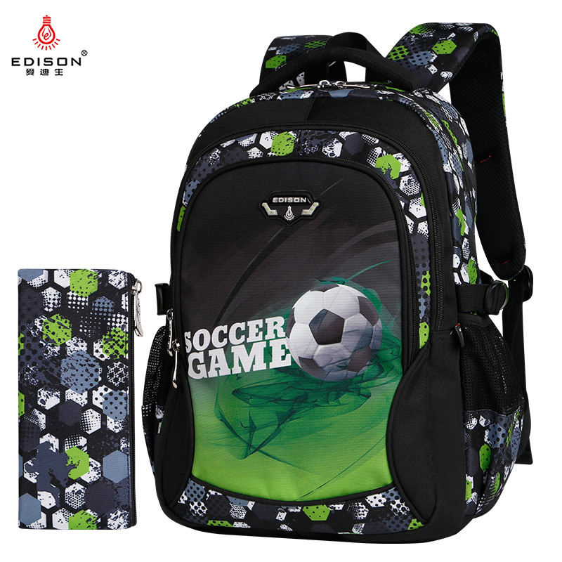 Edison Boy School Backpack Fashion Ultra Light Dirt-Resistant Wear-Resistant Backpack Football Print School Bags Pencil Case Set