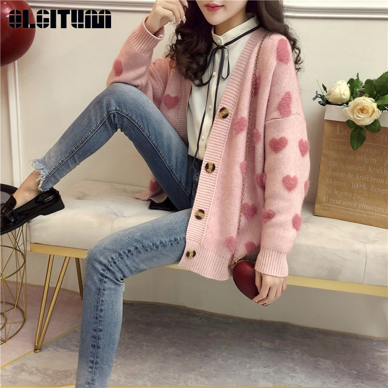 OLGITUM Love Sweater Cardigan For Girls Autumn And Winter PINK BLUE New Korean Cute V-neck Knitwear Cardigan Outwear