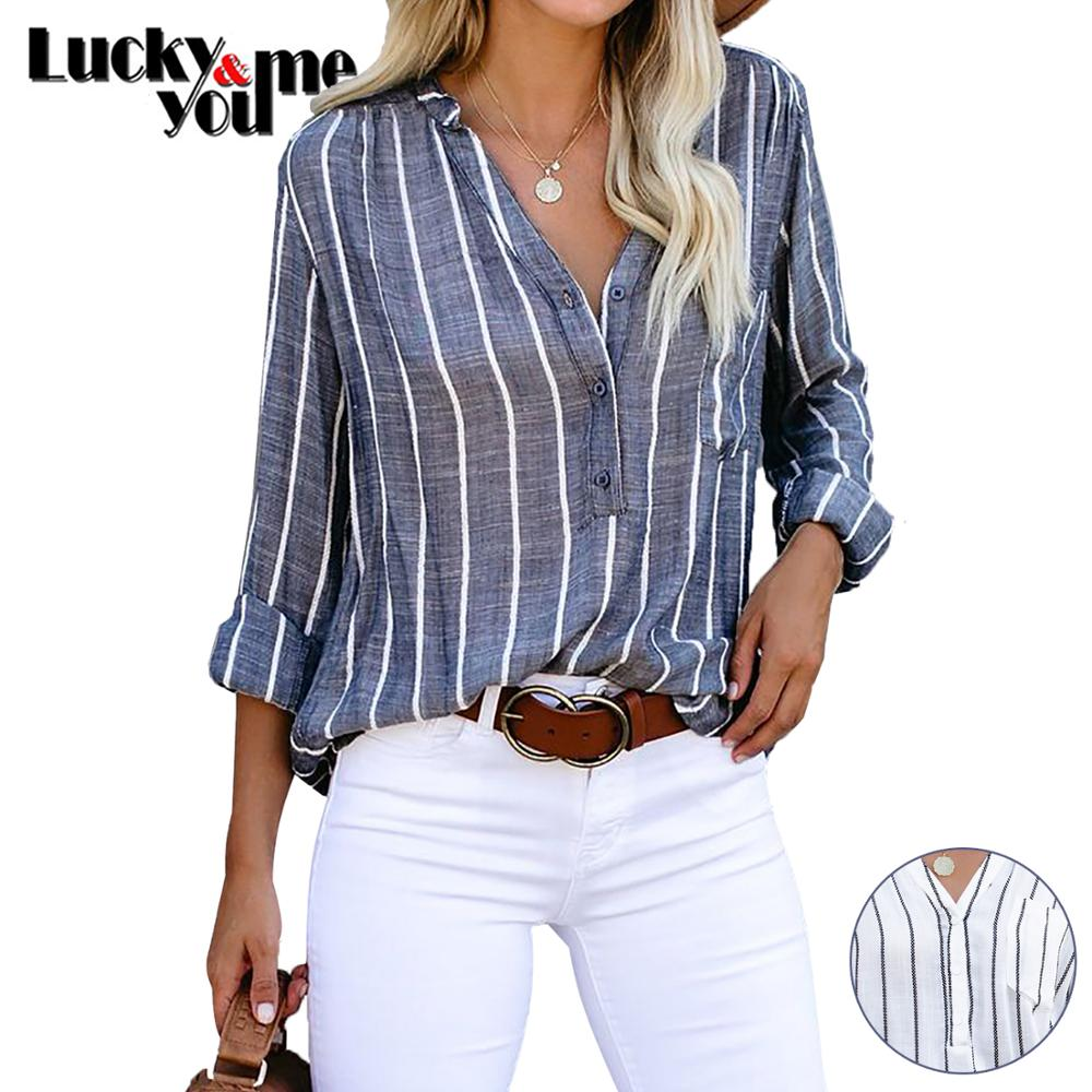 New Arrive 2020 Womens Spring Summer Autumn Vertical Striped Casual Loose Shirt Female V-neck Long Sleeve Shirt Pullover Shirts