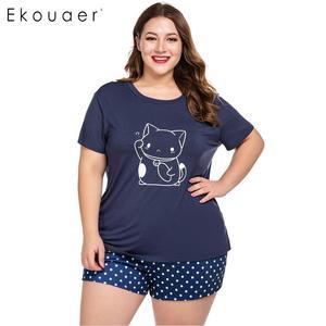 Image 3 - Ekouaer Women Plus Size Pajamas Sets O Neck Short Sleeve Nightshirt and Shorts Home Summer Pajama Set Loungewear