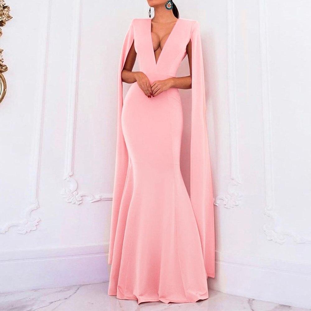 Pink   Evening     Dresses   Sexy Elegant V Neck Long Sleeves Floor Length Long Party Formal Mermaid   Evening     Dress