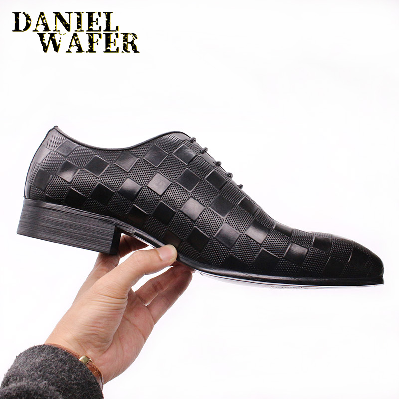 LUXURY ITALIAN OXFORD MEN DRESS SHOES FASHION HAND-MADE PLAID PRINTS LACE UP BLACK WEDDING OFFICE SHOES FORMAL MEN SHOES LEATHER