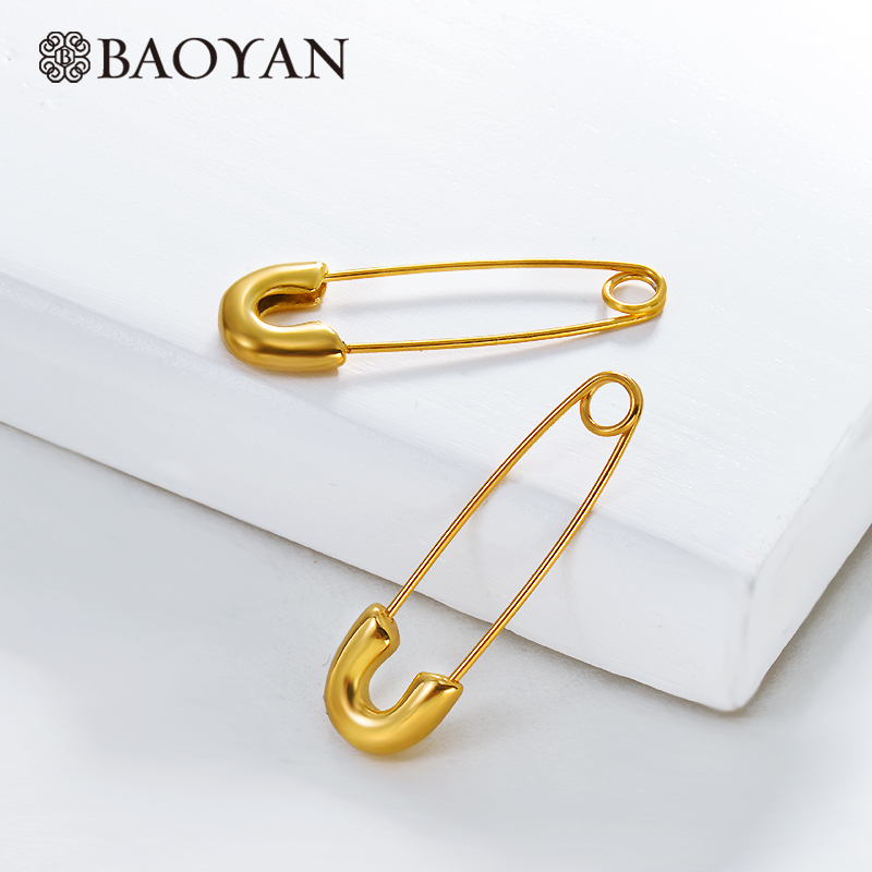 BAOYAN Fashion Golden Paperclip Earrings Safty-Pin TItanium Drop Dangle Earrings Vintage Gold Stainless Steel Earrings For Women