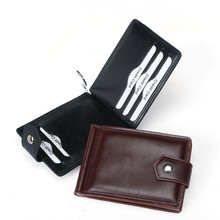 New Slim PU Leather ID/Credit Card Holder Bifold Front Pocket Wallet Business Card Holder Hasp Retro Bank Thin Mini Cards Purse ftstyle business wallet 2017 new fashion men vintage bifold pu leather card holder males id credit card function purse feb20