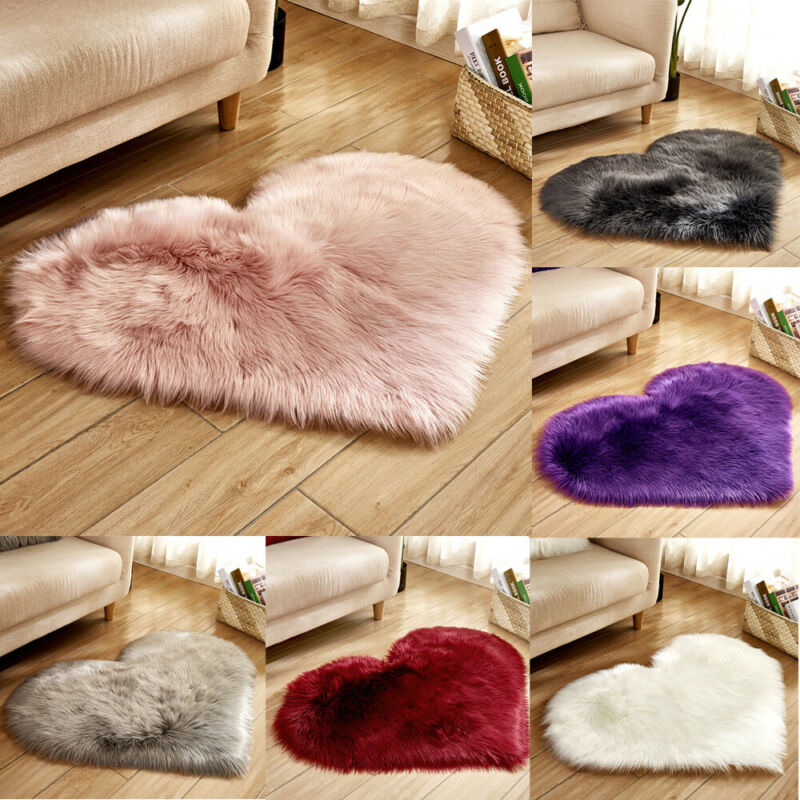 Fluffy Heart Shaped Anti-Skid Soft Fabric Love Shaggy Floor Mat Carpet Room Area Faux Fur Bedroom Hairy Rug Dining Home Room New