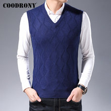 COODRONY Brand Sweater Men Business Casual Sleeveless Vest Autumn Winter Soft Warm Cashmere Knitwear Wool Pullover 91094