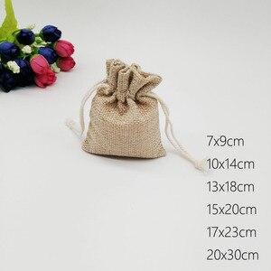 10 sztuk jutowy torby prezent etui ze sznurka pudełko na prezent torby do pakowania na prezent pościel torby biżuteria wyświetlacz Wedding worek worek jutowy Diy