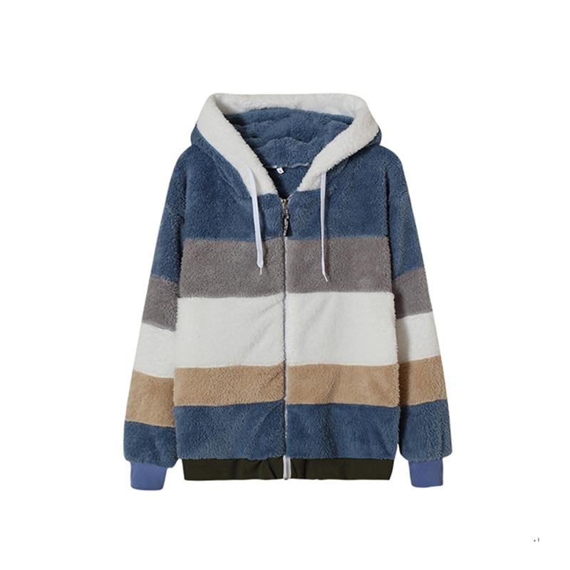 Hade7d123276e4d65bd66c6c9030f5571w Female Casual Loose Long Sleeve OuterwearWinter New Warm Plush Furry Women Jackets Fashion Patchwork Zipper Pocket Hooded Coats