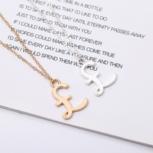 Simple Alloy Metal Letter Symbol Pictographic Necklace Womens Golden Gift for Party