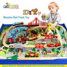 Pista de tren de madera Compatible con Tomas y amigos, juguetes para niños y niñas, accesorios de escena de pista DIY, Juguetes