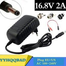 Carregador de bateria do li-íon de 16.8v 2a para 14.4v 18650 bateria de lítio 5.5mm x 2.1mm conector fêmea da montagem do painel do soquete do jaque da alimentação da c.c.