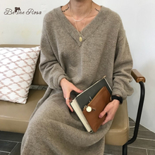 BelineRosa Korean Casual Style V Neck Pure Color Elegant Color Loose Long Knitted Dresses Autumn Winter Sweater DressYXMZ0004