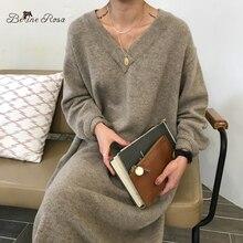 BelineRosa Korean Casual Style V ausschnitt Reine Farbe Elegant Farbe Lose Lange Gestrickte Kleider Herbst Winter Pullover DressYXMZ0004
