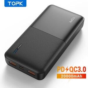 TOPK Power Bank 20000 мАч портативное зарядное устройство USB Type C PD 3,0 Быстрая зарядка 3,0 Быстрая зарядка внешний аккумулятор для Xiaomi