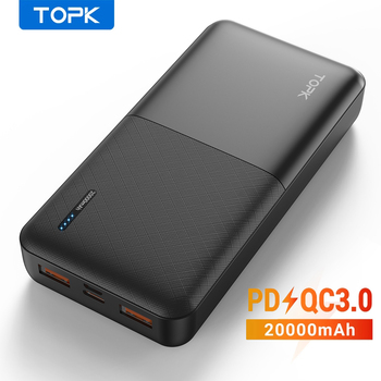 TOPK Power Bank 20000mAh Portable Charger USB Type C PD 3.0 Quick Charge 3.0 Fast Charging Powerbank External Battery for Xiaomi