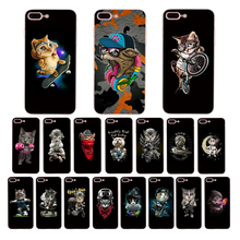 HOUSTMUST Soft case for iphone x 7 8 6s 6 plus xr xs max cover Cute glasses cat character cartoon pattern 5s 5 10 se shell Coque