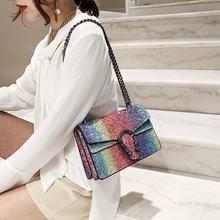Women's Bag High Quality Leather Small Square Shoulder Bags Female Fashion Branded Chain Crossbody 2021 Luxury Designer Handbags