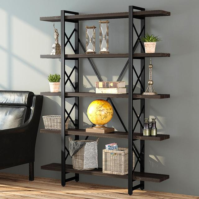 5-tier Industrial Style X Shaped Bookcase 3