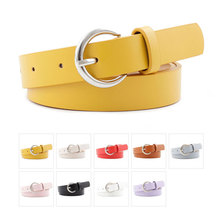 9 Colors Womens Leather Belts Silver Metal Pin Buckle Waist Strap Female Fashion Candy Color Belt For Ladies Jeans Dress